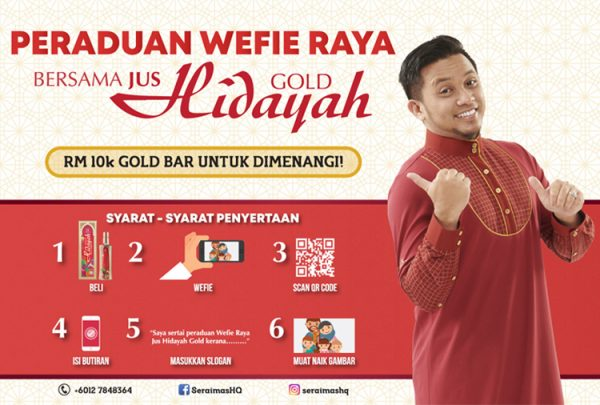 Wefie Raya dan Menang Emas Raya bernilai RM10,000 daripada Jus Hidayah Gold oleh Seraimas Herbs