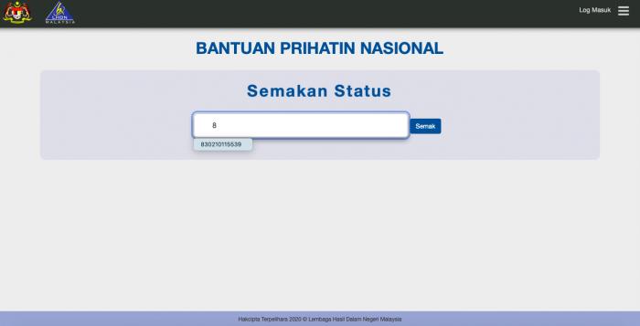 semak status bantuan prihatin nasional