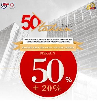 Diskaun 50% untuk Pinjaman Pelajaran MARA!
